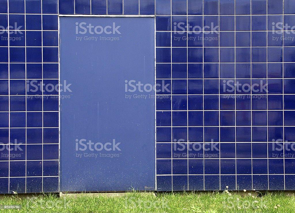 Blue Door, Green Grass royalty-free stock photo