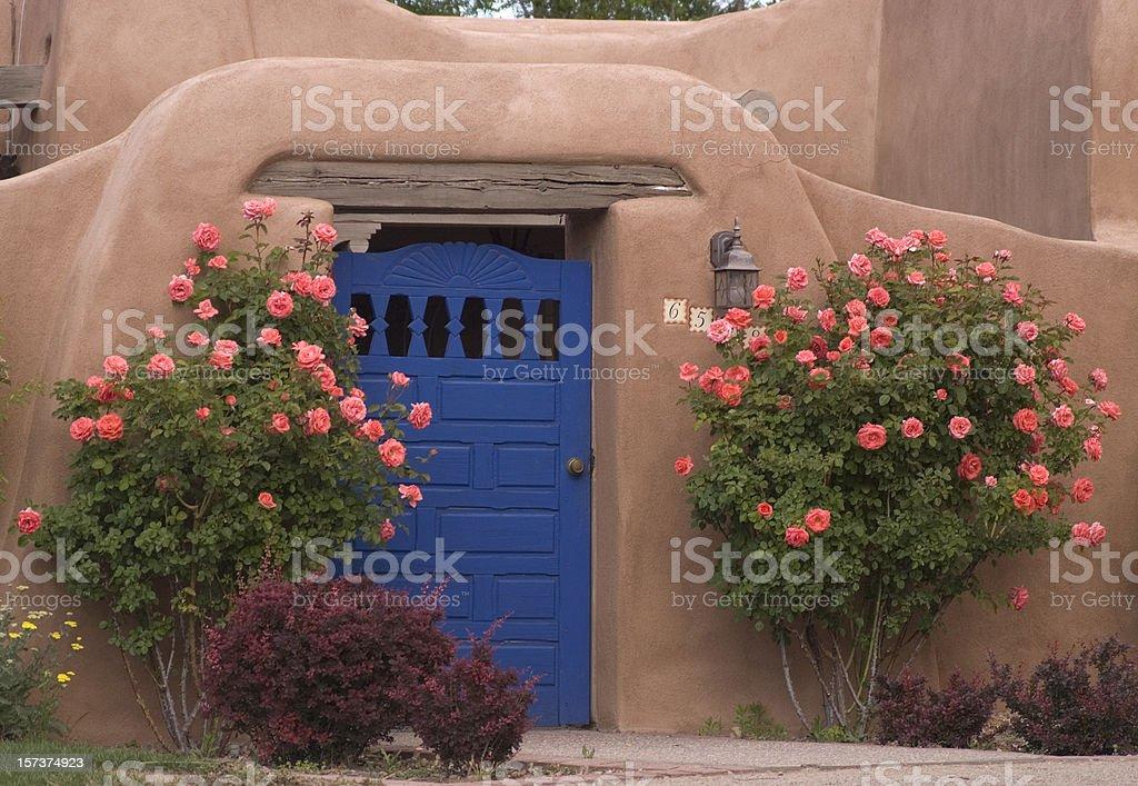 Blue Door & Roses stock photo
