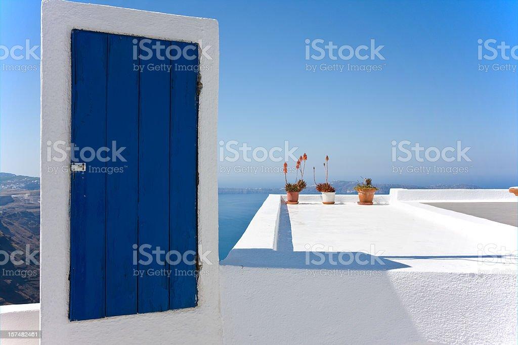 blue door to nowhere stock photo