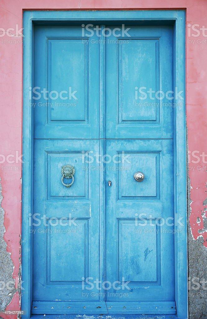 Blue door-Kastellorizo-Greece stock photo