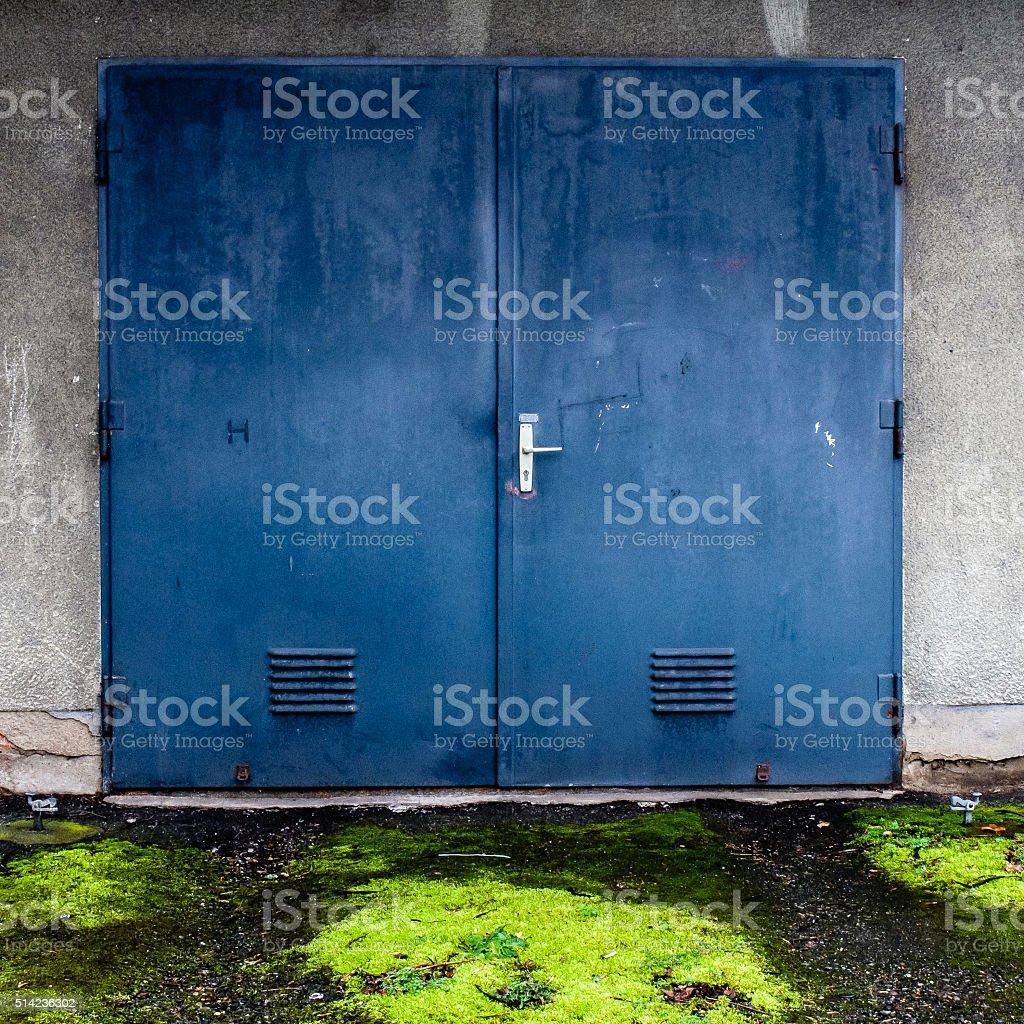 Blue doors stock photo