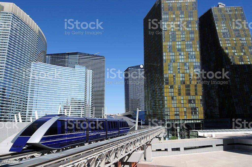 Blue Downtown Train stock photo