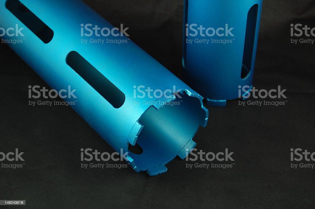 Blue drill bit core stock photo