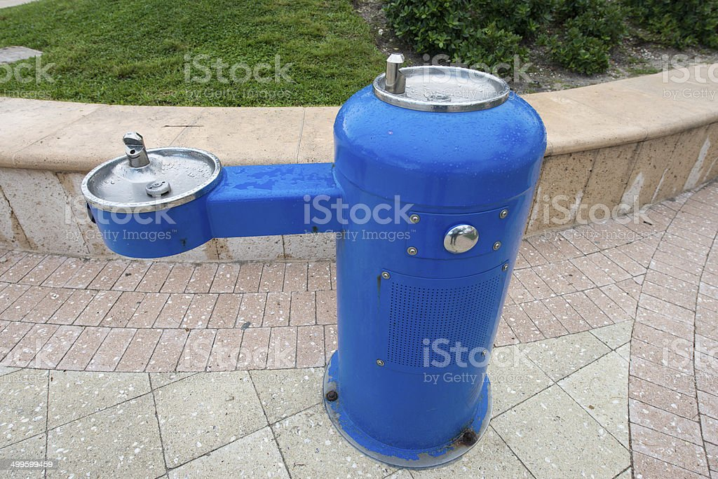 Blue Drinking Fountain stock photo