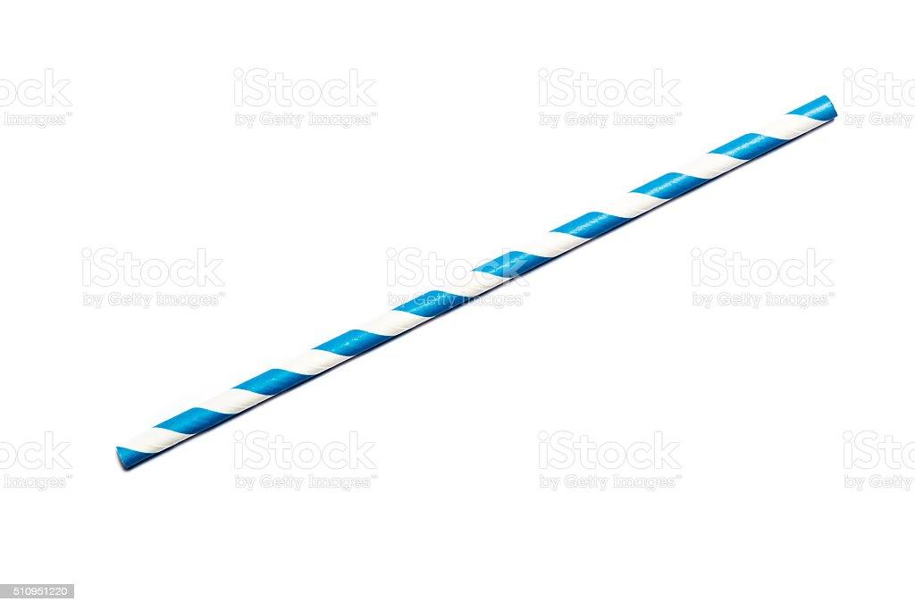 Blue drinking straw stock photo