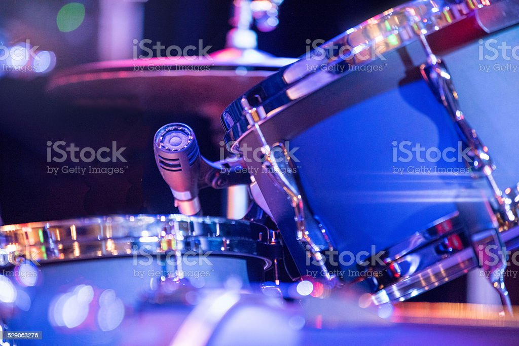 Blue drum tom tom snare microphone close up stock photo
