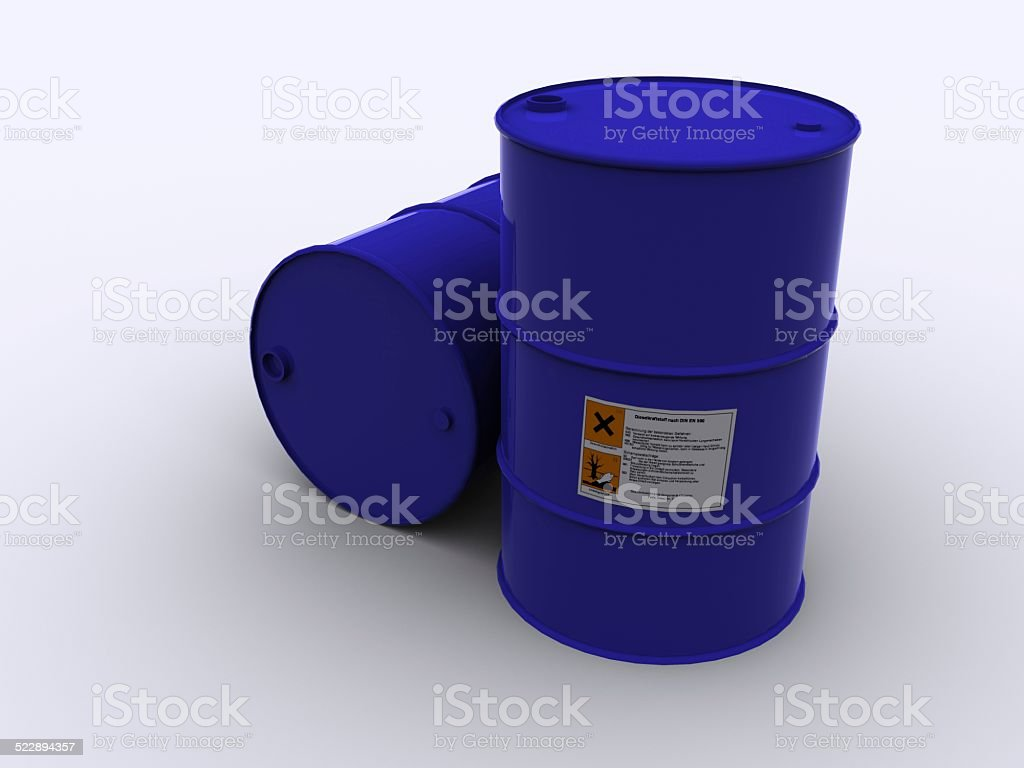 blue drums loaded with poison stock photo