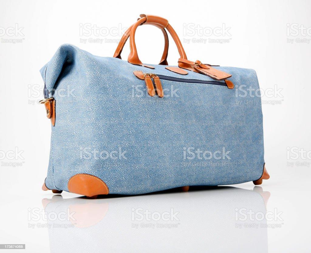Blue Duffle bag stock photo
