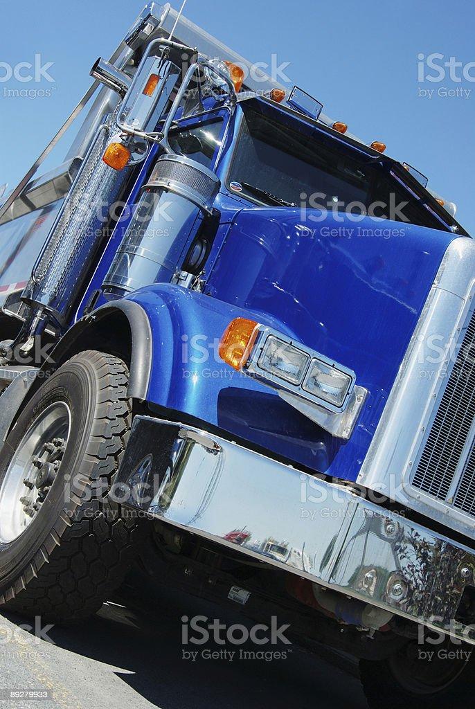 Blue dump truck stock photo