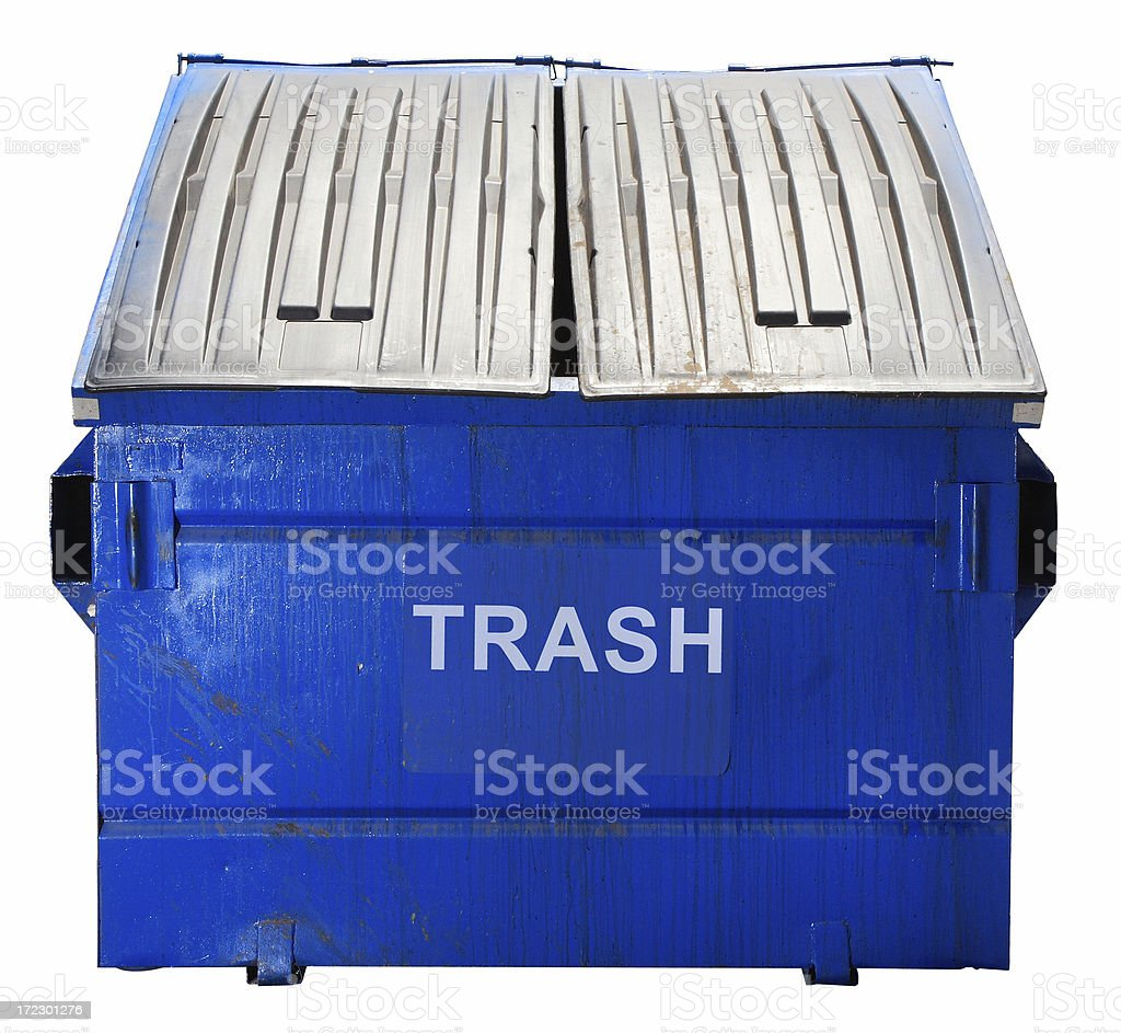 Blue Dumpster (Isolated on White) stock photo