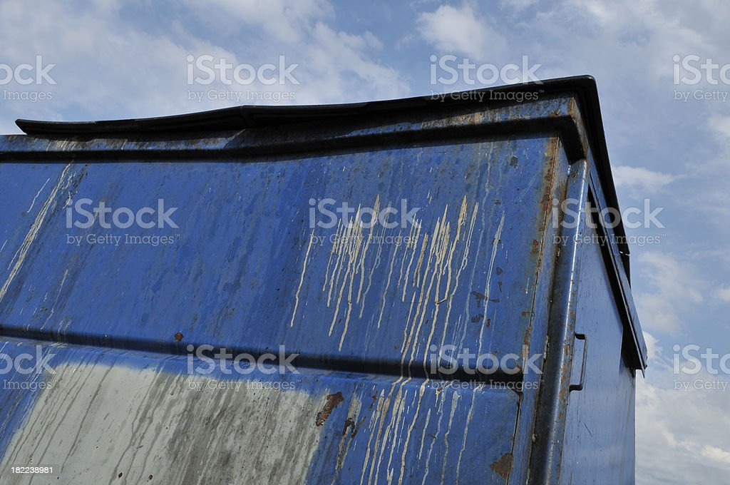 Blue Dumpster royalty-free stock photo
