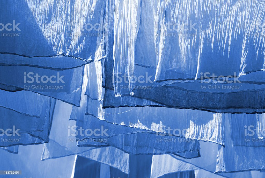 Blue Dyed Fabrics royalty-free stock photo