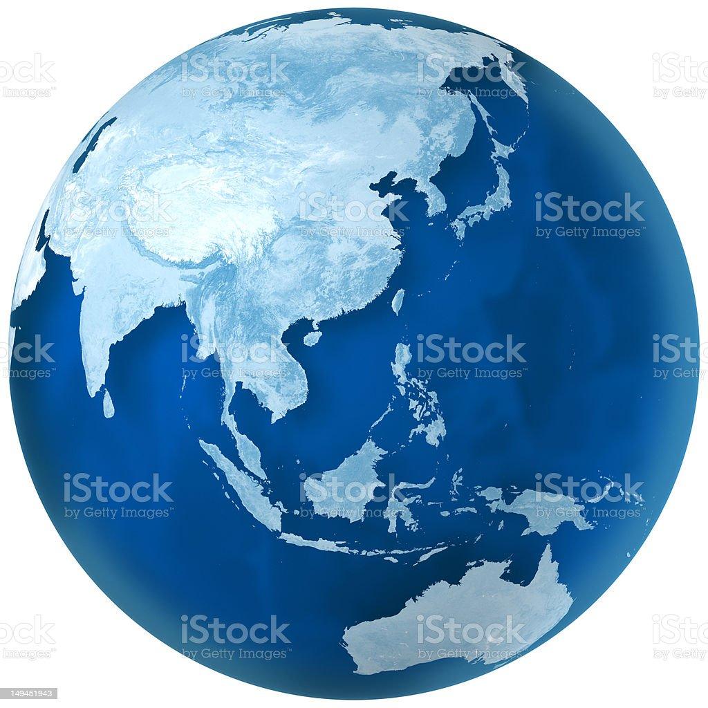 Blue Earth Asia and Australia stock photo