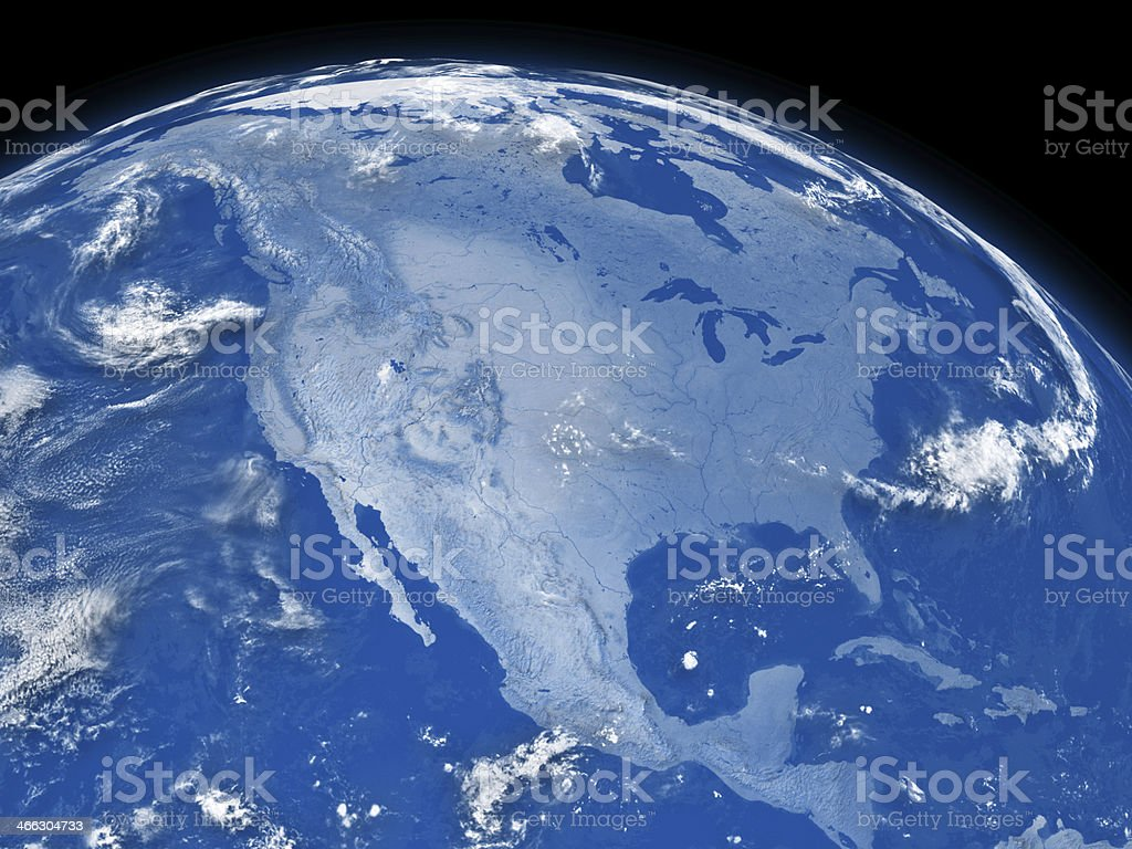 Blue earth globe showing North America stock photo