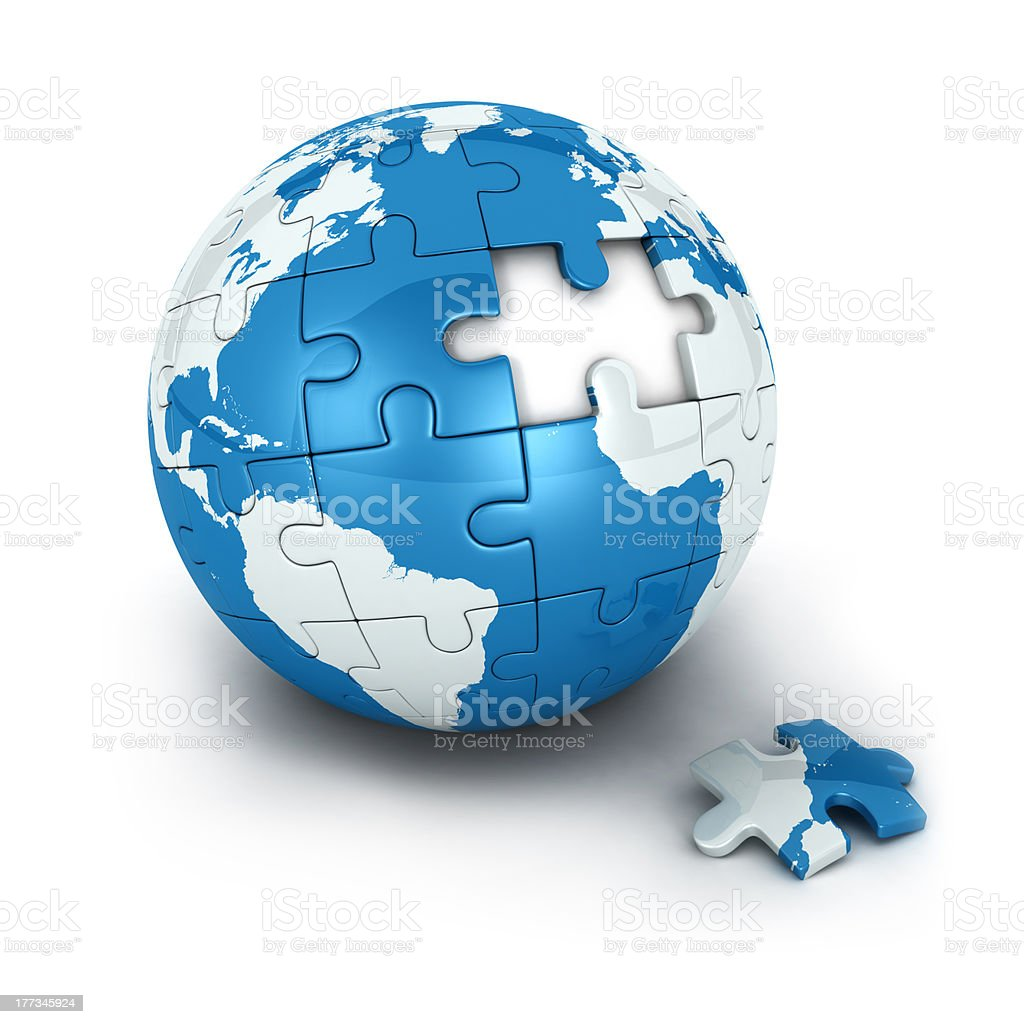blue earth of puzzle stock photo