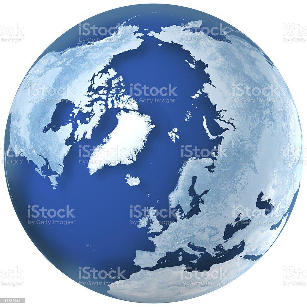 Blue Earth the North Pole stock photo