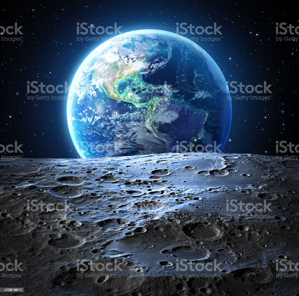 blue earth view from moon surface - Usa stock photo