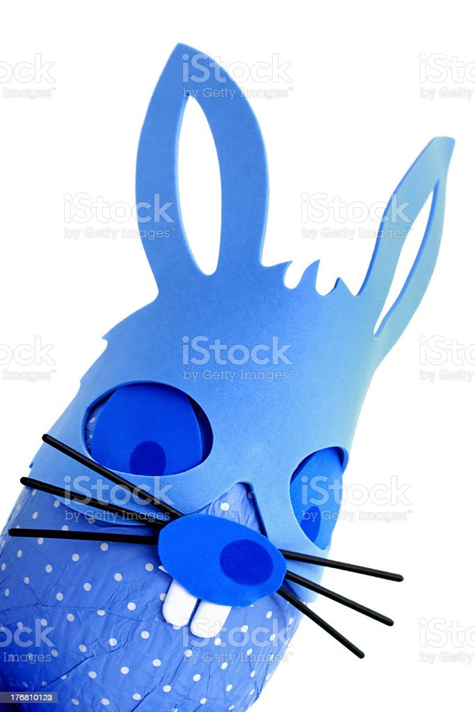 Blue Easter bunny egg from corner stock photo