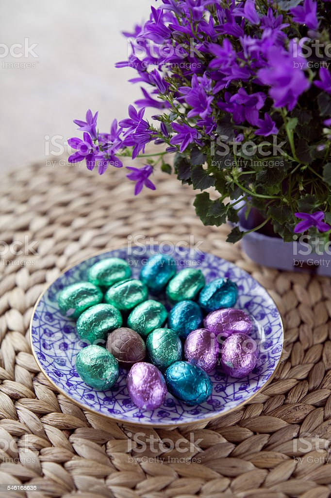 Blue Easter chocolate eggs stock photo