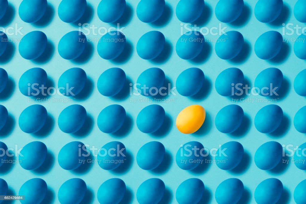 Blue easter eggs flat lay stock photo