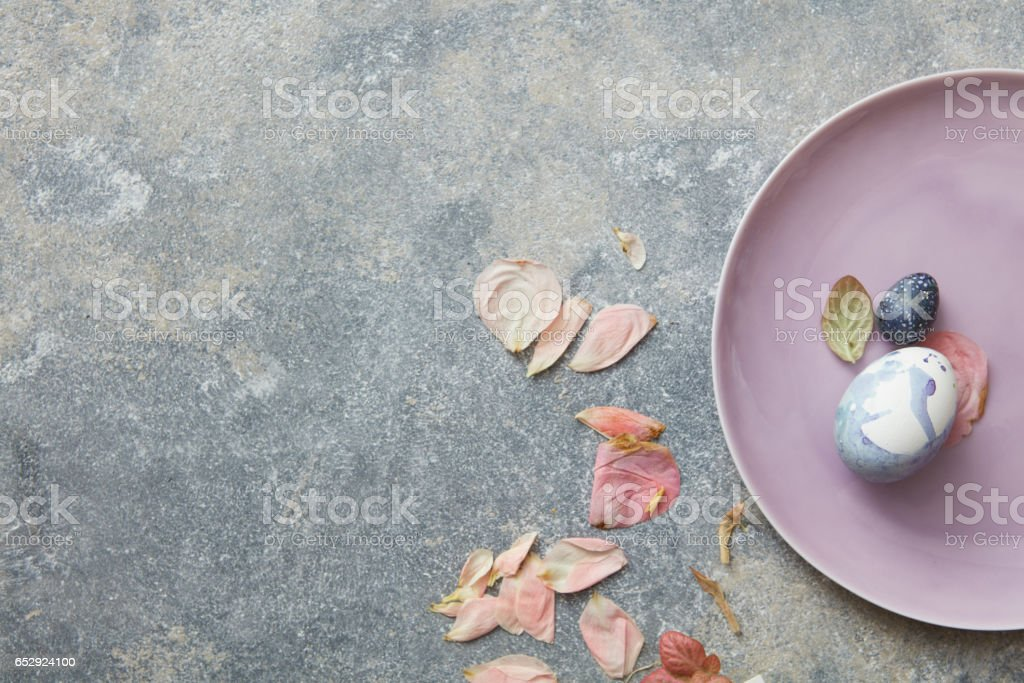 Blue easter eggs on pink plate stock photo