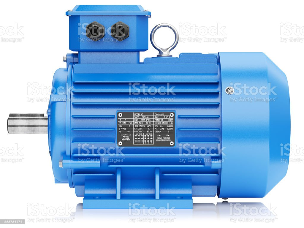 Blue electric engine stock photo