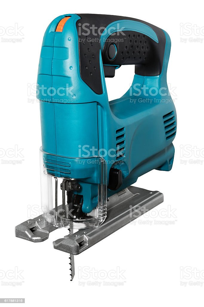 blue electric fretsaw stock photo