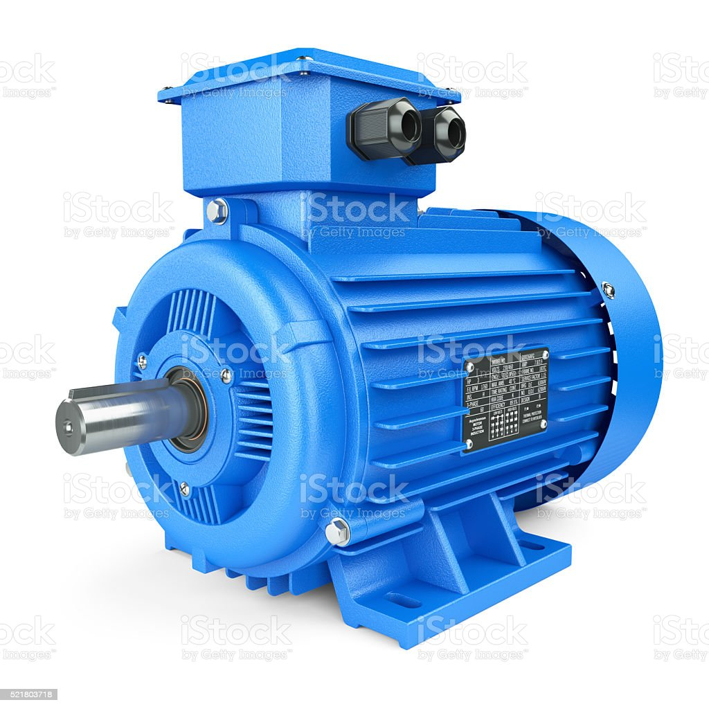 Blue electric industrial motor. stock photo