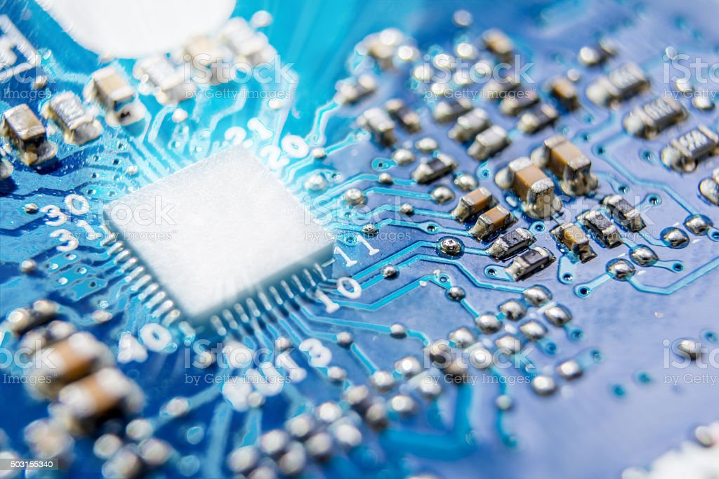 Blue electronic circuit stock photo