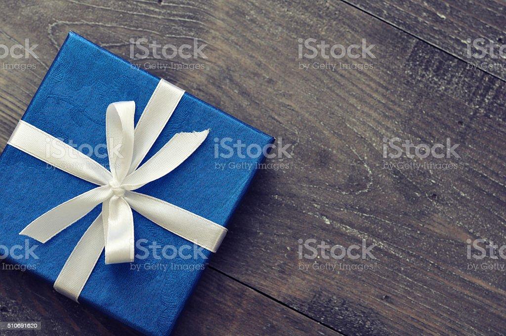 Blue elegant gift box stock photo