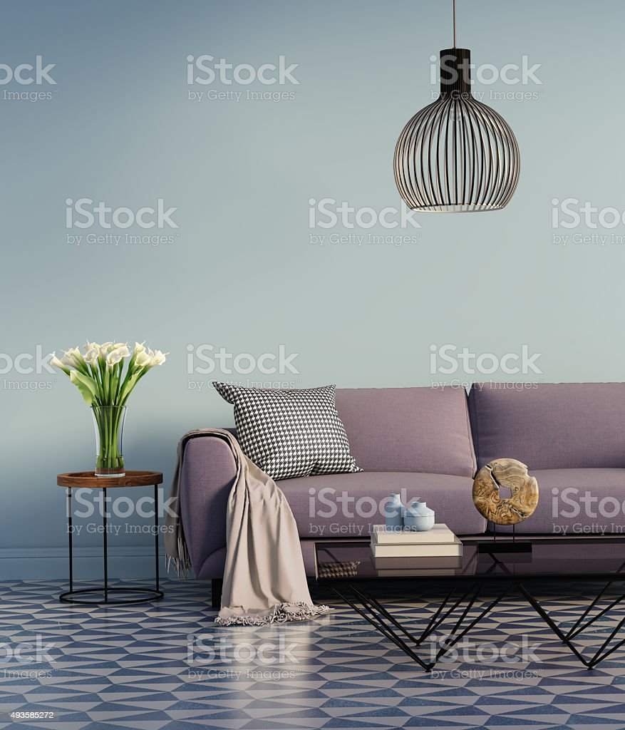 Blue elegant interior with purple sofa and flowers stock photo