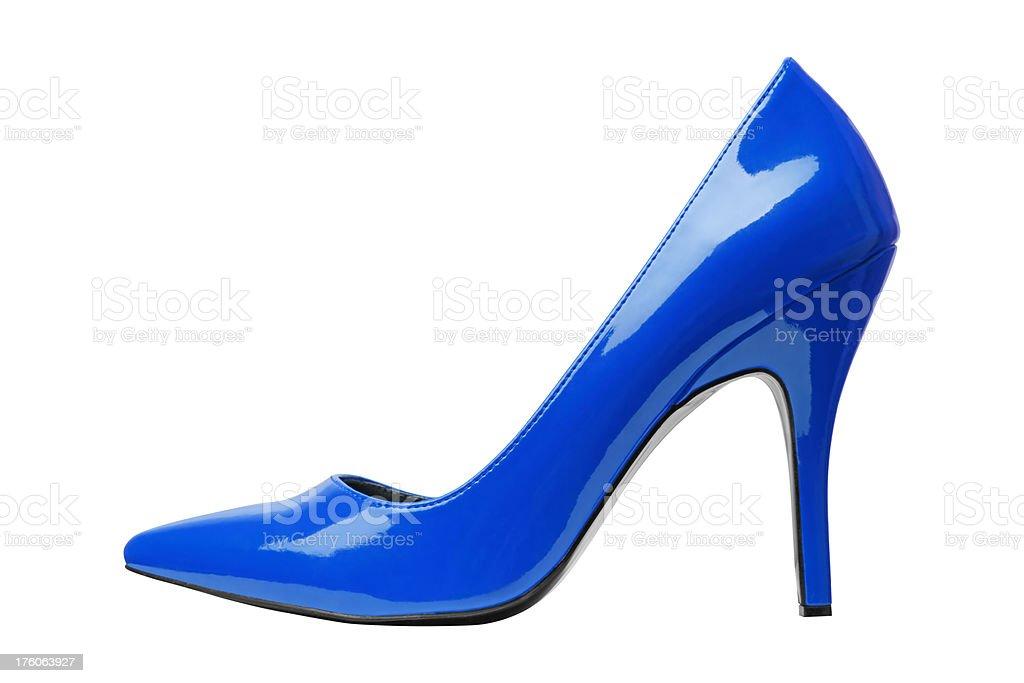 Blue Elegant Shoe Isolated On White XXXL size royalty-free stock photo
