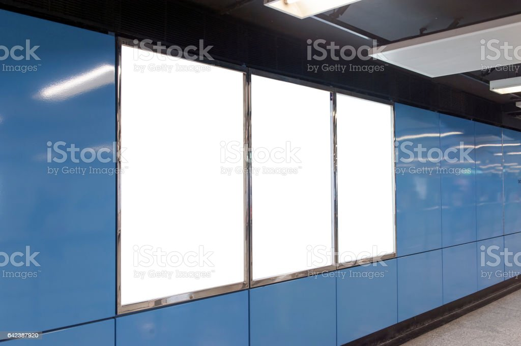 Blue Empty BillBoard stock photo