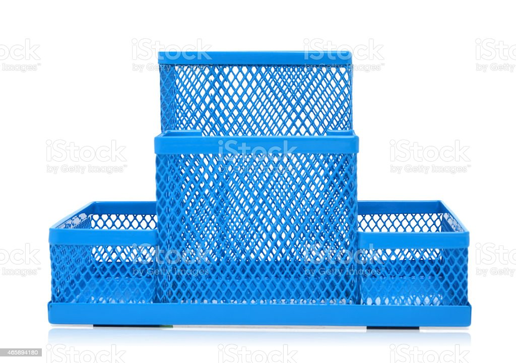 Blue empty pencil holder isolated on white stock photo