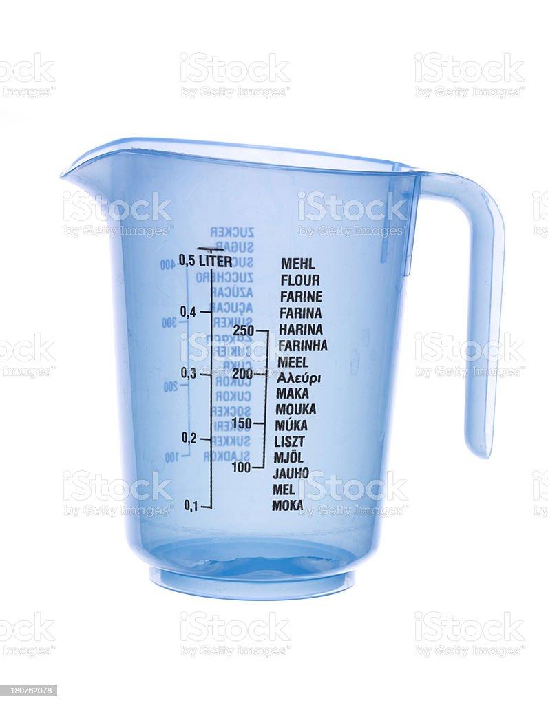 Blue empty plastic measuring beaker isolated on white stock photo
