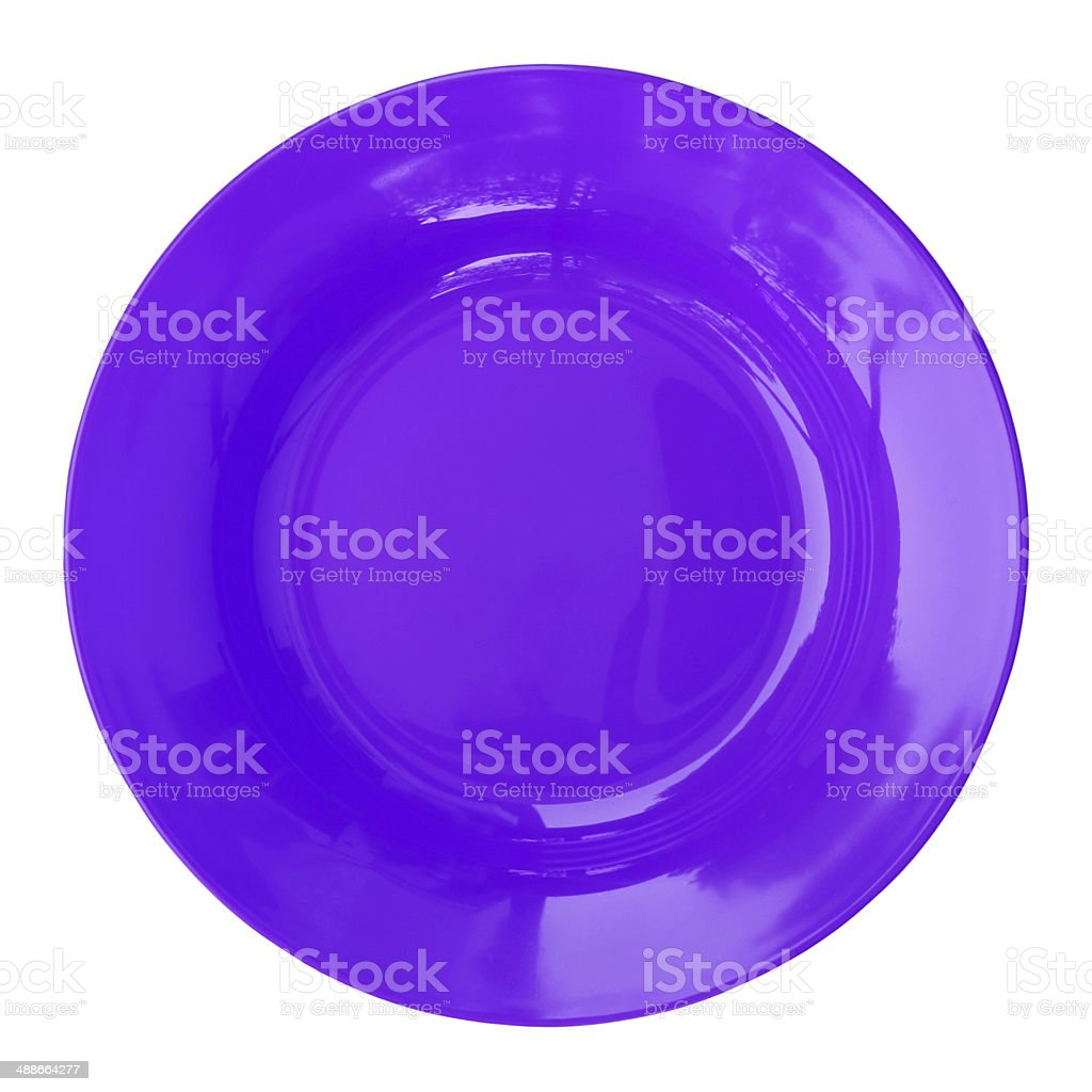 blue empty plate isolated on white stock photo