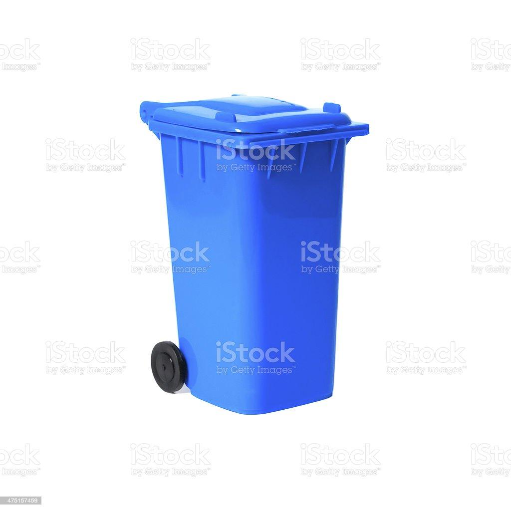 blue empty recycling bin stock photo