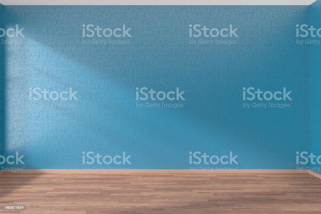Blue empty room with parquet floor stock photo