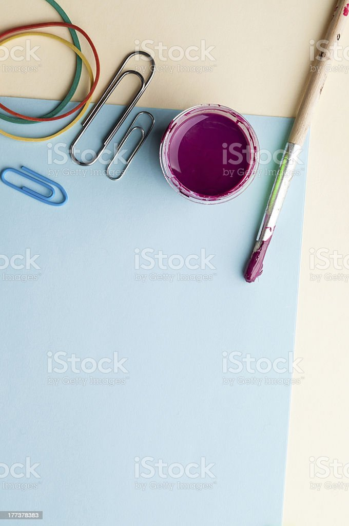 Blue empty sheet with brush and paint. royalty-free stock photo
