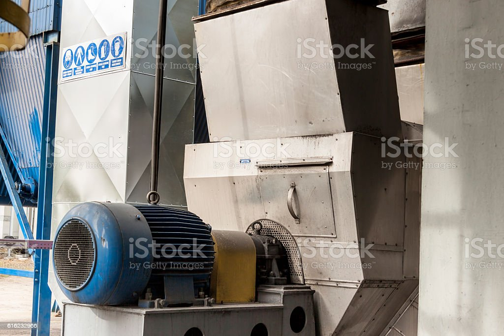 Blue engine and fumes ventilator stock photo