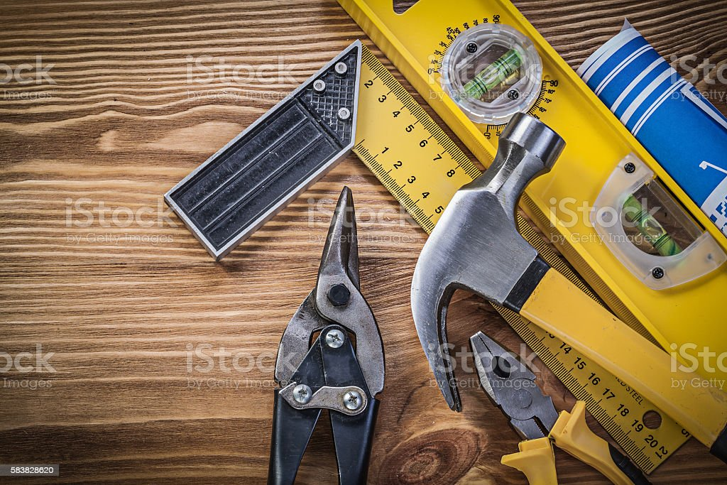 Blue engineering drawings construction level square ruler claw h stock photo