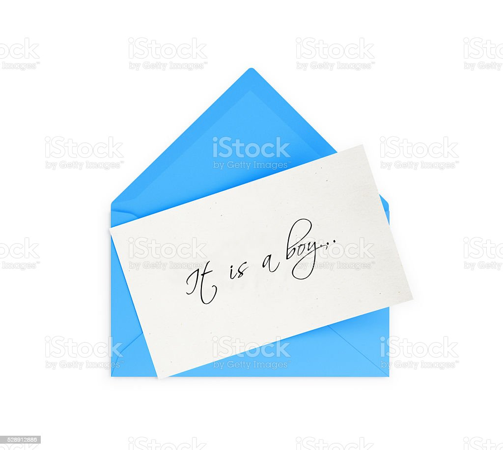 Blue Envelope and It is a boy Note stock photo
