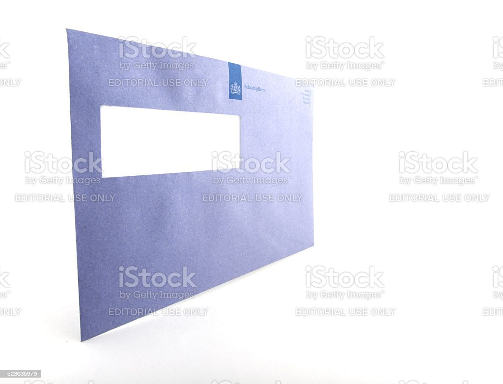 Blue envelope of the Dutch irs stock photo