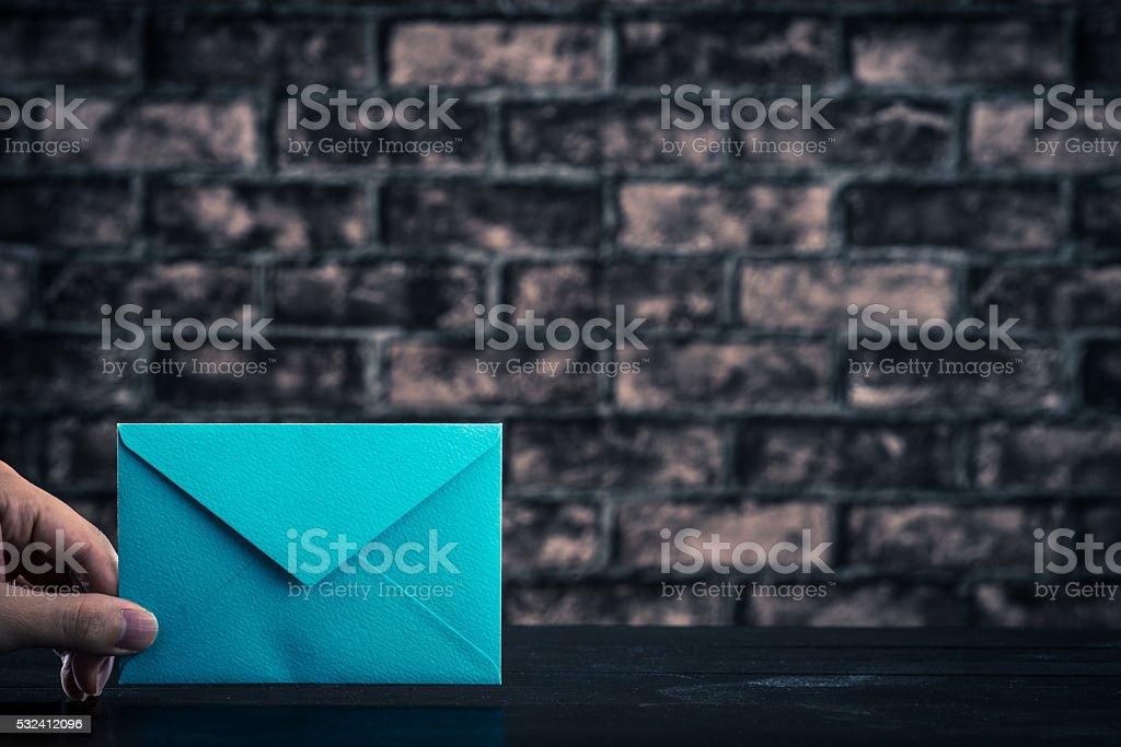 blue envelope stock photo