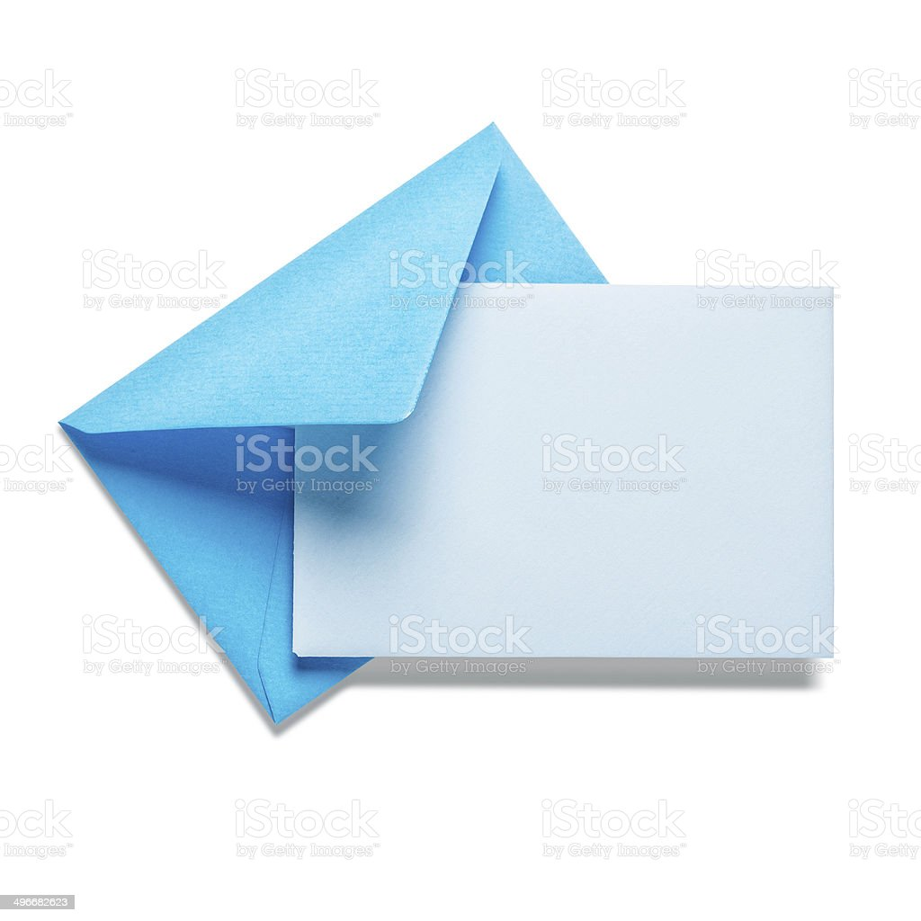Blue envelope with card stock photo