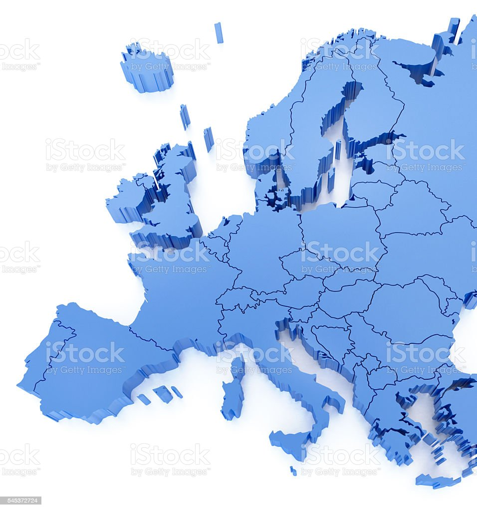 Blue Europe Map with countries stock photo