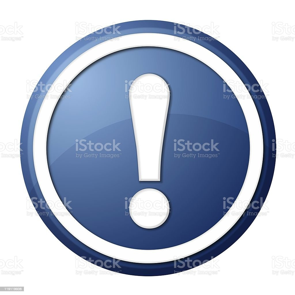 blue exclamation point button stock photo