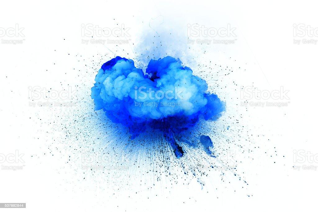 Blue explosion isolated on white background stock photo