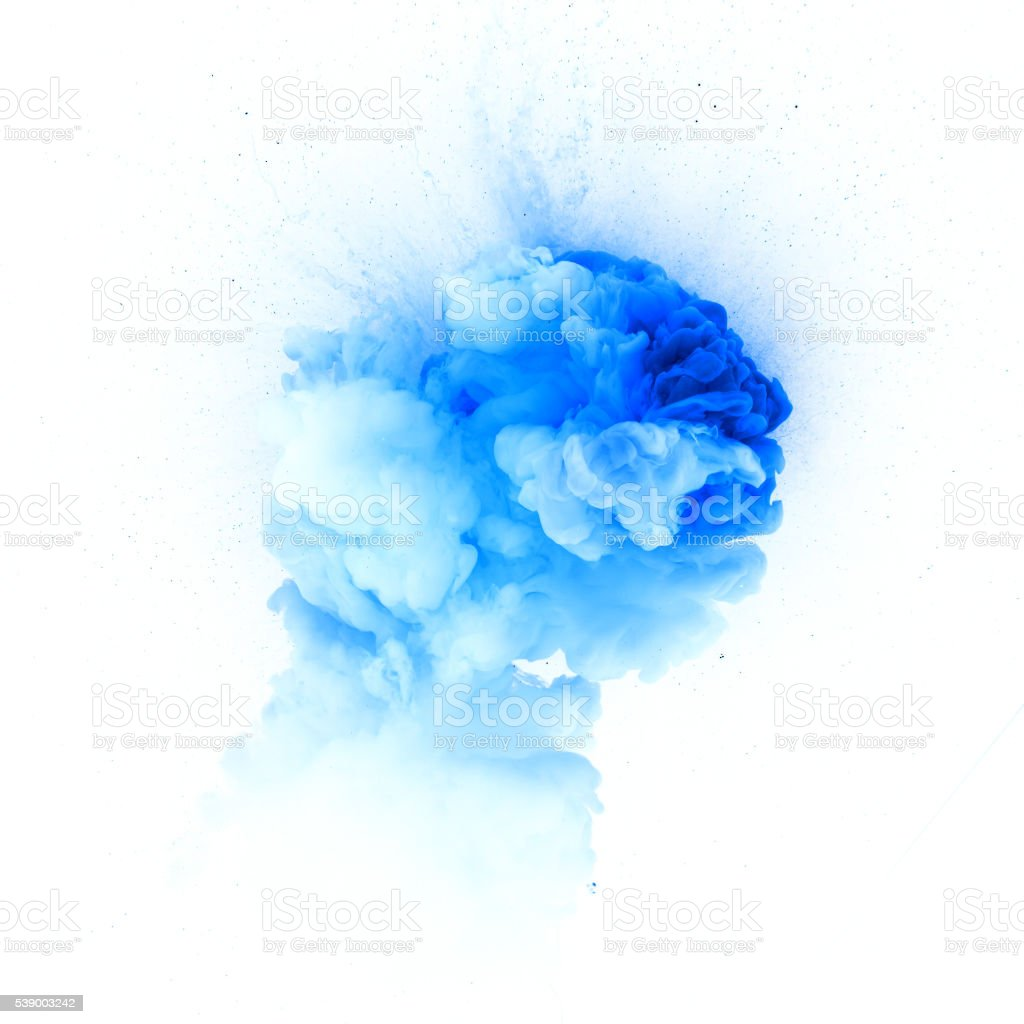 Blue explosion isolated on white background stock photo