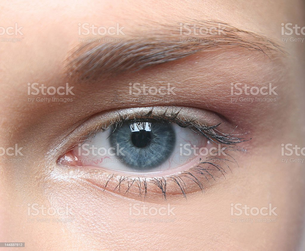 A Blue eye of a young Caucasian woman stock photo